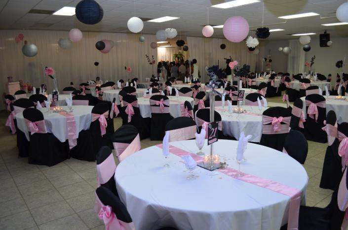 A beautiful color scheme of pink, black & white at UAW Solidarity Banquet Hall.