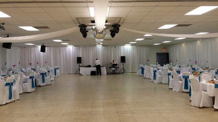 There is plenty of room to have your table & chairs set up as well as a dance floor.